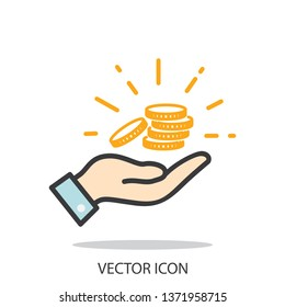 hand holding coins  icon, line sign on white background - editable stroke vector illustration eps10