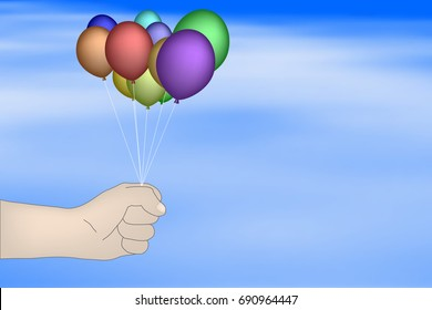 hand holding colorful balloons on sky background - vector design