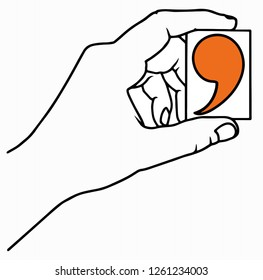 Hand holding comma concept. Vector illustration. comma in hand. horizontal layout.