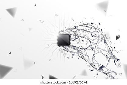 Hand holding a computer processor. Abstract polygonal, lines, triangles and particle style design. Illustration vector