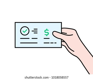 hand holding contour bank check. flat cartoon modern manager logo graphic art design isolated on white background. concept of global electronic banking or paycheck in woman arm or prize bonus