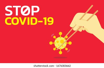 Hand holding Coronavirus COVID-2019 with chopsticks on red background, Stop COVID-2019 concepet design.