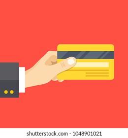 Hand holding credit card. Credit card back side. Modern flat design. Vector illustration