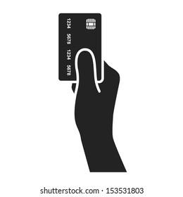 hand holding credit card black icon. vector illustration