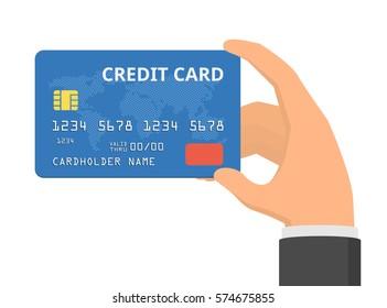 Hand holding credit card. Flat design vector illustration