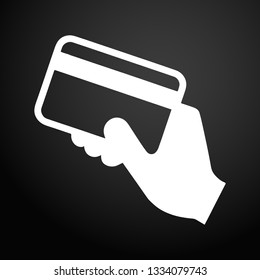 Hand holding a credit card icon.