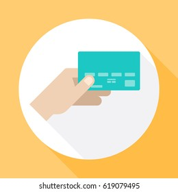 Hand holding credit card. Icon vector with long shadow. Flat design style.
