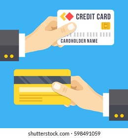 Hand holding credit card set. Credit card front and back, face and reverse sides. Business, finance concepts. Modern flat design graphic elements. Vector illustration isolated on blue background