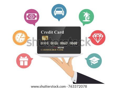 Hand holding credit card in silver tray with icon. Illustration about spending and payment.