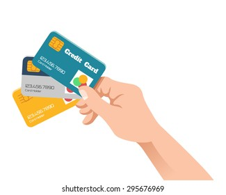 Hand holding credit card. Vector flat illustration