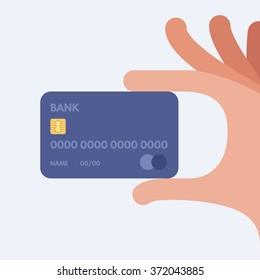 Hand holding credit card. Vector illustration. Flat design style.