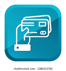 Hand holding Credit Cards Icon. Blue Button. Eps10 Vector.
