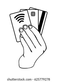 Hand holding credit cards on white background. Credit card generations Magnetic stripe Chip and Contactless cards Black and white template