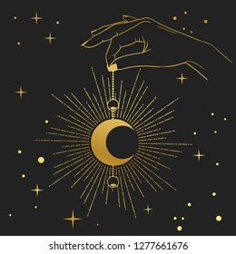 Hand holding crescent moon. Vector illustration in boho style.