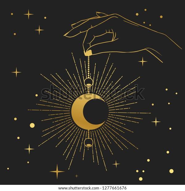 hand holding crescent moon vector illustration stock vector royalty free 1277661676 https www shutterstock com image vector hand holding crescent moon vector illustration 1277661676
