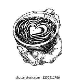 Hand holding a cup cappuccino decorated with a picture of heart. Sketch. Engraving style. Vector illustration.