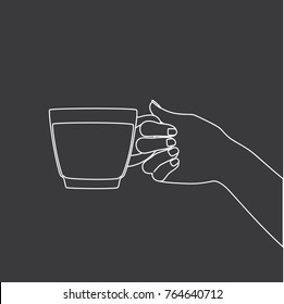 Hand holding a cup of coffee, vector illustration design. Hands collection.