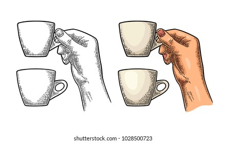Hand holding a cup of coffee. Vintage color vector engraving illustration for label, web, flayer. Isolated on white background
