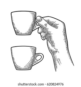 Hand holding a cup of coffee. Vintage black vector engraving illustration for label, web, flayer. Isolated on white background