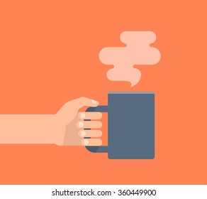Hand holding cup of hot drink. Coffee time, coffee break concept. Isolated vector illustration flat style.