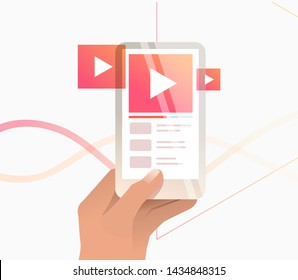 Hand holding digital device with online player interface. Watching video, playlist, smartphone. Streaming concept. Vector illustration can be used for topics like streaming service, vlog, livestream
