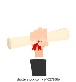 hand holding diploma or certificate with red ribbon