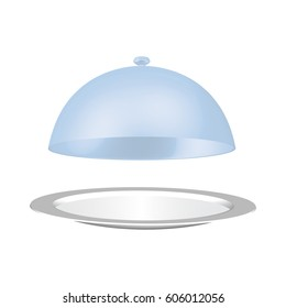 Hand holding dish isolated on white background. Silver Restaurant plate & blue dome cap little above it. Food serving tray. Vector illustration EPS 10 in modern graphic design, stylish concept