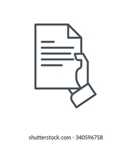 Hand holding a document icon suitable for info graphics, websites and print media and  interfaces. Line vector icon.