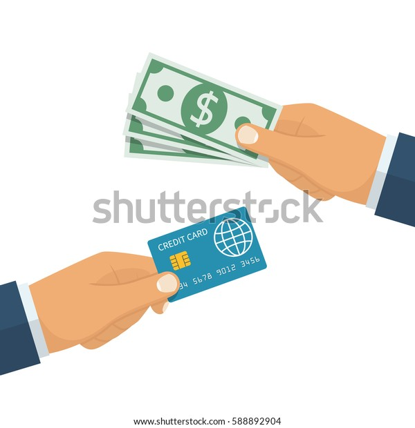 Hand holding dollar and credit card. Isolated on white background. Vector illustration, flat design style. Giving, show money. Sign paying. Finance on plastic. Payment cash and electronic.