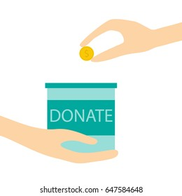 hand holding donation box with coin money in hand.donate and charity concept