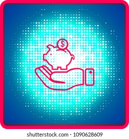 Hand holding a hand drawn vector piggy bank, vector icon.