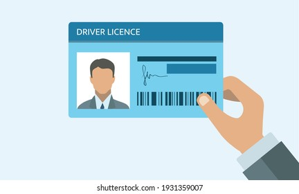 Hand holding Driver license. ID card. Identification card icon. Man and woman driver license card template. Icon driver license.