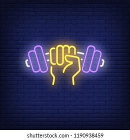 Hand holding dumbbell neon sign. Bodybuilding, sport and advertisement design. Night bright neon sign, colorful billboard, light banner. Vector illustration in neon style.