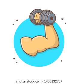 Hand Holding Dumbbell Vector Icon Illustration. Hand With Muscle in Holding Barbell. Gym and Fitness Center Concept. Flat Cartoon Style Suitable for Web Landing Page, Banner, Flyer, Background