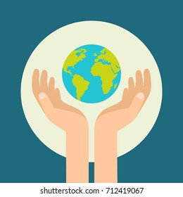 Hand holding earth. Happy earth day. Save earth concept. Vectors stock.
