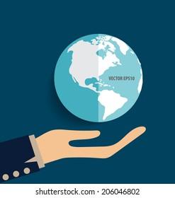 Hand holding earth. Vector illustration.