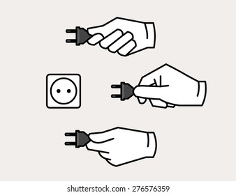 Hand holding electric power plug icon