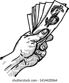 A hand holding a fistful of money notes. Hand drawn vector illustration.