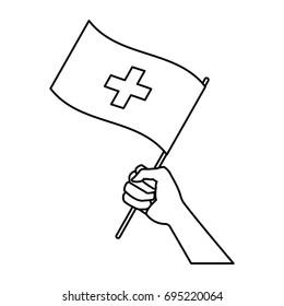 hand holding flag of switzerland symbol national