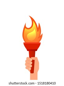 Hand holding flaming torch. Clipart image isolated on white background