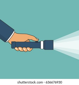 Hand holding flashlight. Search concept. Vector illustration flat line design. Isolated on background. Electric spotlight. Beam light. Press a finger on the button. Bright ray. Black outline.