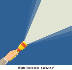 Hand holding flashlight. Web search concept. Electric spotlight. Beam light. Vector illustration in flat style