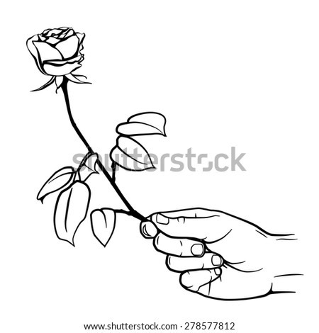 Hand Holding Flower Giving Rose Stock Vector Royalty Free