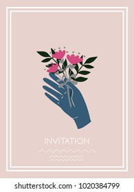 Hand holding flowers bouquet invitation card. Happy Valentine's Day concept. Vector illustration