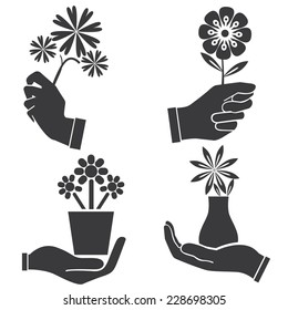 hand holding flowers set, vector set