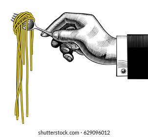 Hand holding a fork with spaghetti. Vintage stylized drawing. Vector illustration