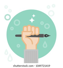 Hand holding fountain pen. Creativity concept. Vector illustration, flat design
