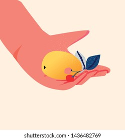 Hand holding a fruit. Hello summer. Concept drawn post card template with bouquet of flovers. Flat vector illustration