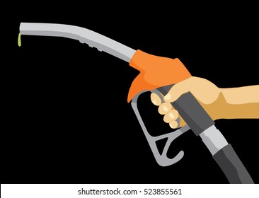 Hand holding fuel nozzle. Fuel pump in hand. Petrol station. Gasoline pump. Flat vector illustration
