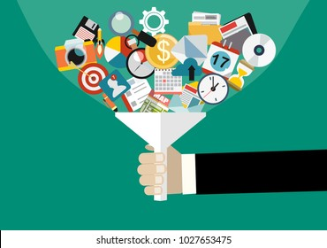 Hand holding funnel, big data filter, data tunnel, analysis vector concept